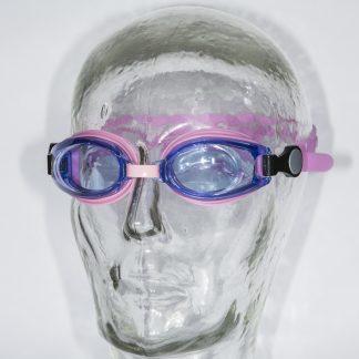 Roze kinderzwembril met lichtblauwe glazen